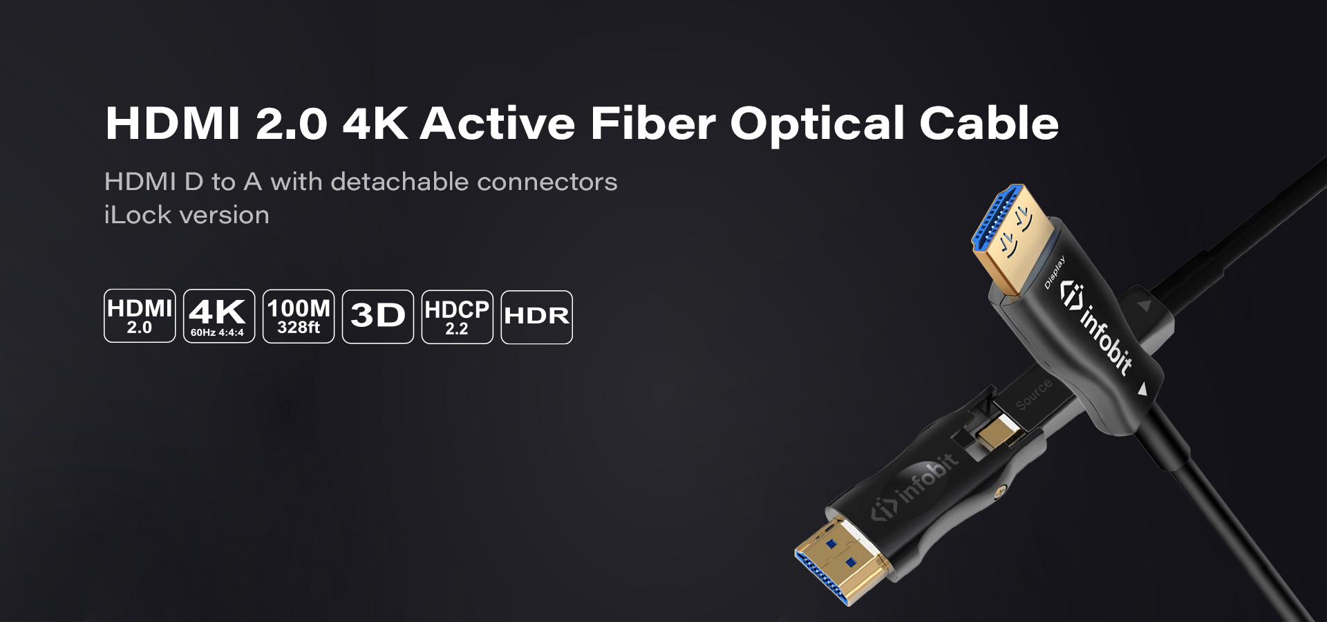 DA: HDMI D to A detachable connectors with iLock version