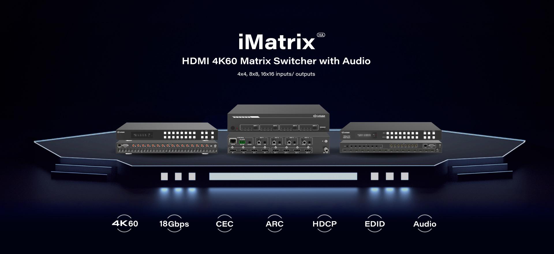 iMatrix HA HDMI 4K matrix switcher with audio