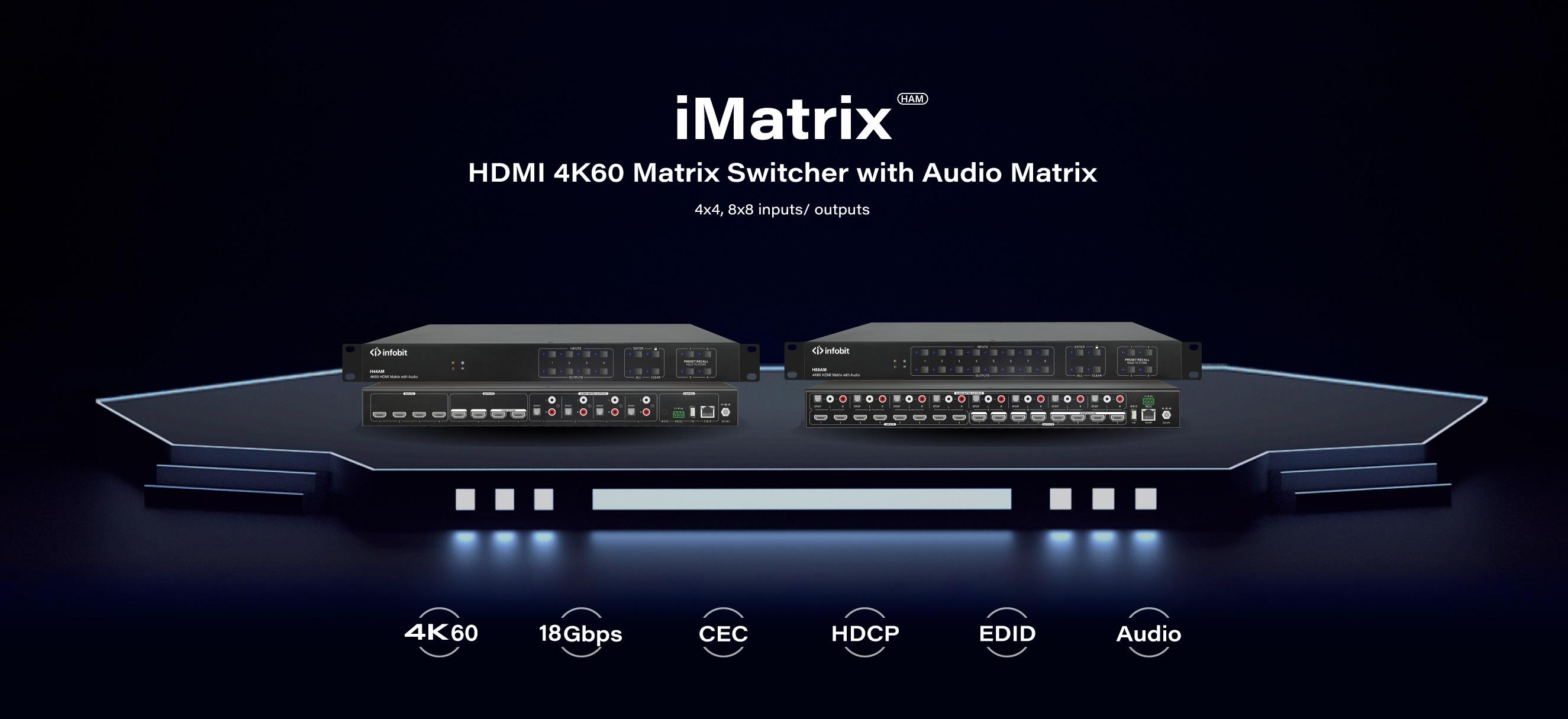 iMatrix HAM HDMI 4K matrix switcher with audio