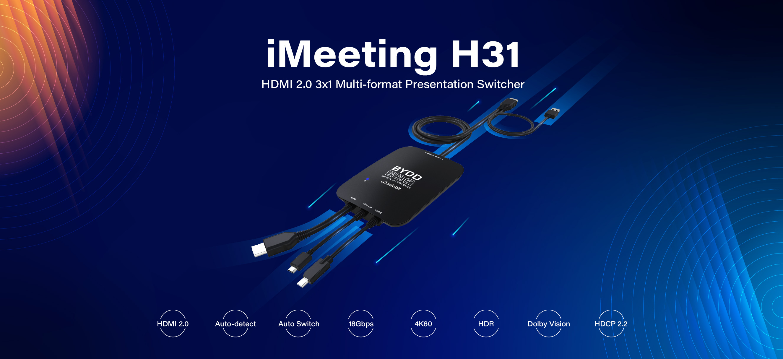iMeeting H31: HDMI 2.0 3x1 Multi-format Presentation Switcher