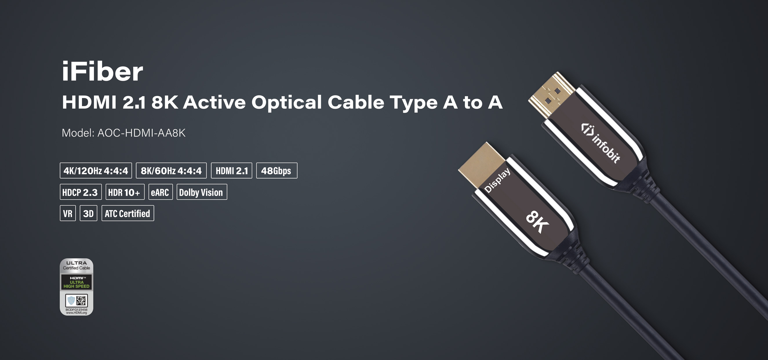 iFiber HDMI 2.1 8K Active Optical Cable 48Gbps