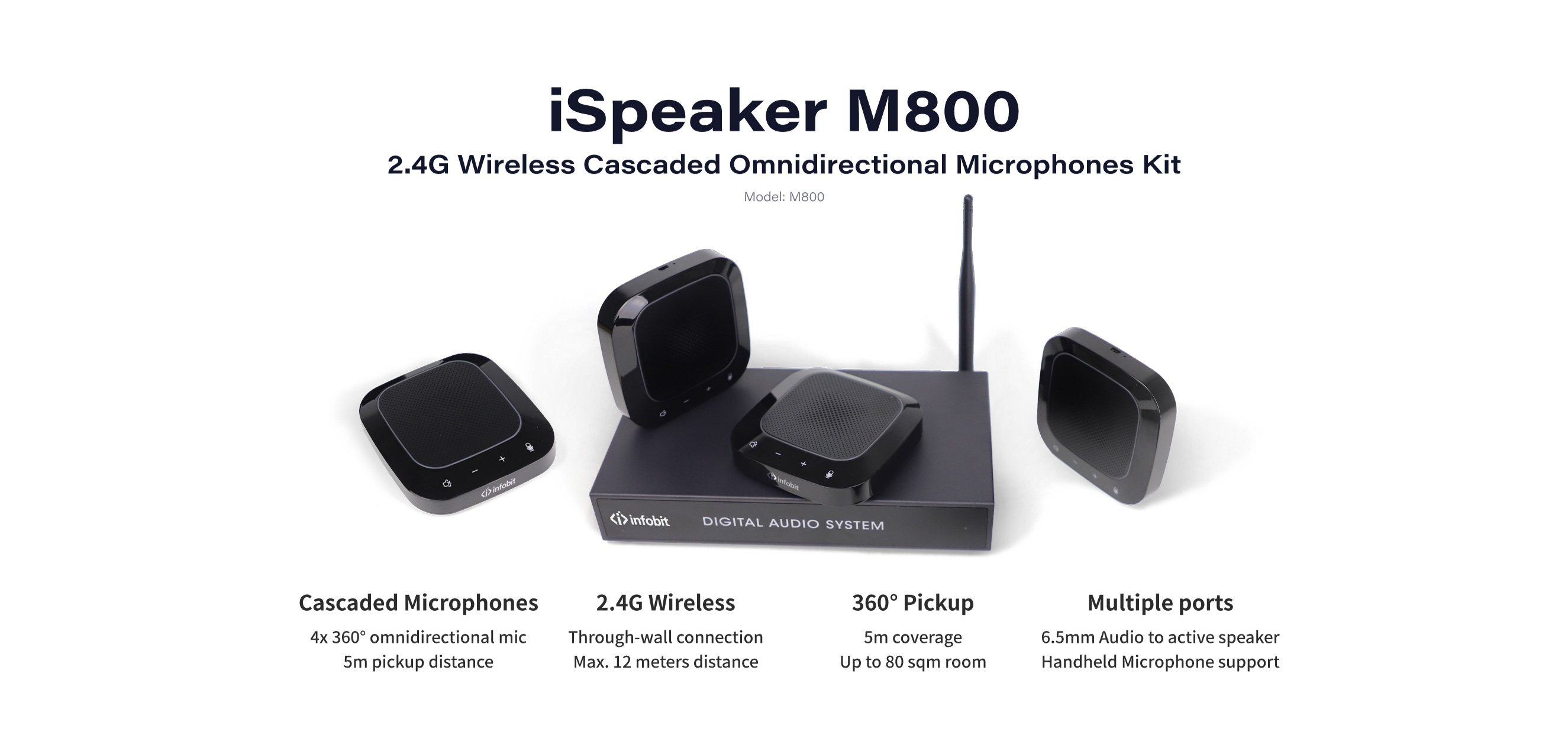 iSpeaker M800 daisy chain cascaded microphones