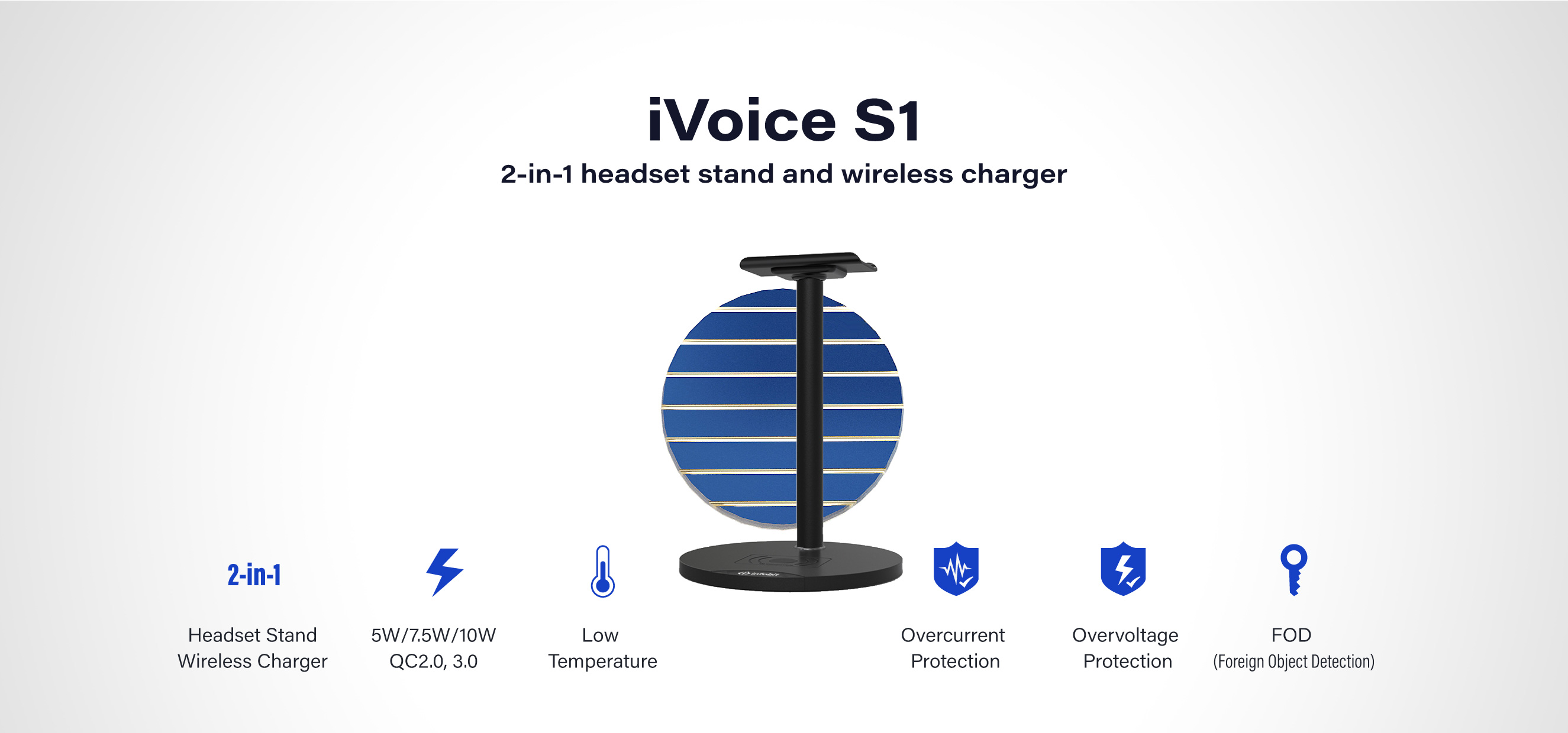 INFOBIT iVoice S1 headset wireless charger